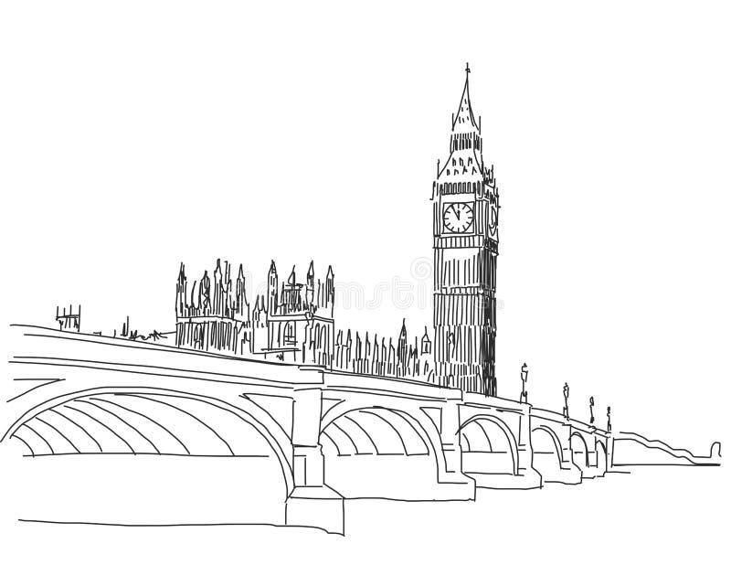 Dé la visión popular exhausta Big Ben y el esquema S del puente de Westminster stock de ilustración