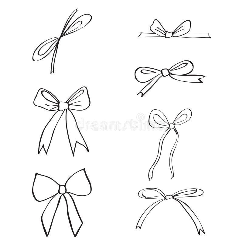 Dé las cintas exhaustas y los arcos aislados en el fondo blanco, ejemplo del bosquejo de la tinta del garabato, línea negra estil stock de ilustración