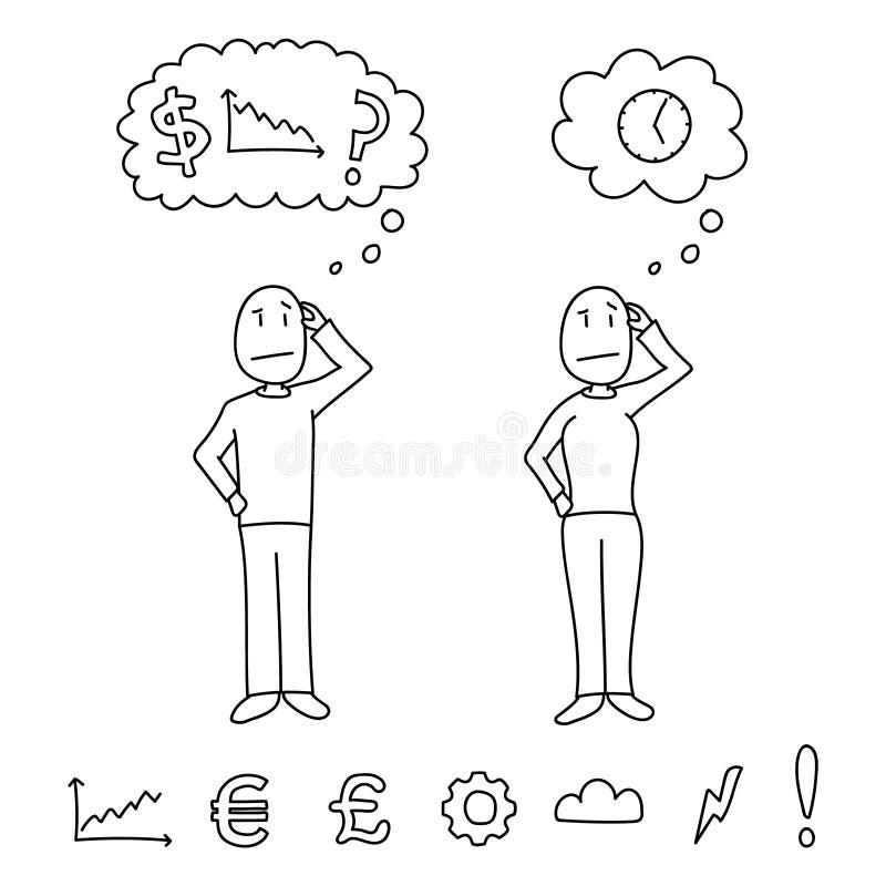 Dé las figuras exhaustas del estilo que rasguñan las cabezas que muestran conceptos de la confusión dentro de las nubes del pensa stock de ilustración