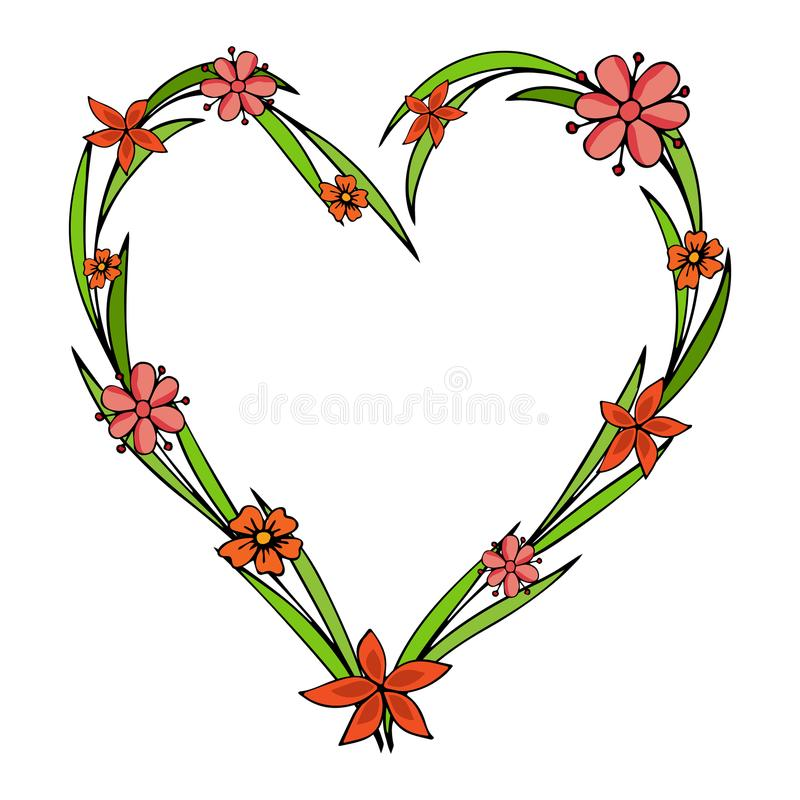 Dé las flores exhaustas dispuestas en una forma del corazón Doodle el estilo Guirnalda de los Wildflowers aislada en el fondo bla libre illustration