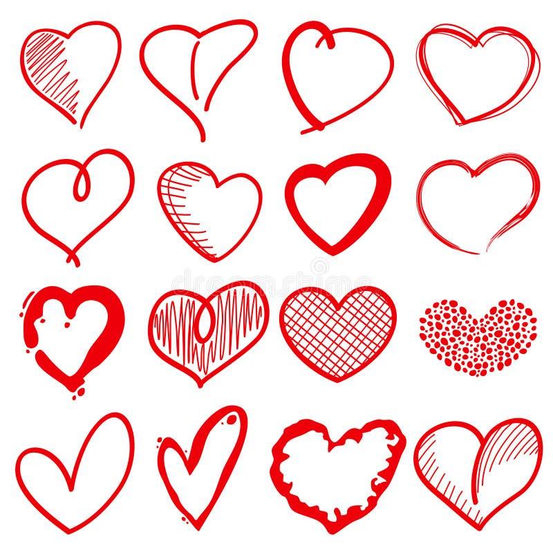 Dé las formas exhaustas del corazón, muestras románticas del vector del garabato del amor para la decoración del día de fiesta stock de ilustración