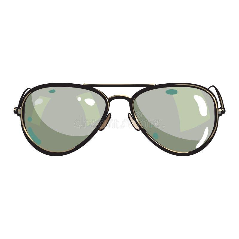 Dé Las Gafas De Sol Tipo Aviador Exhaustas En Marco Metálico Con Las ...