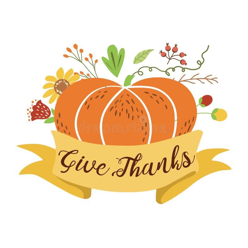 Dé las gracias que la calabaza florece la mano feliz del jardín del otoño de la bandera de la acción de gracias vector exhausto d ilustración del vector