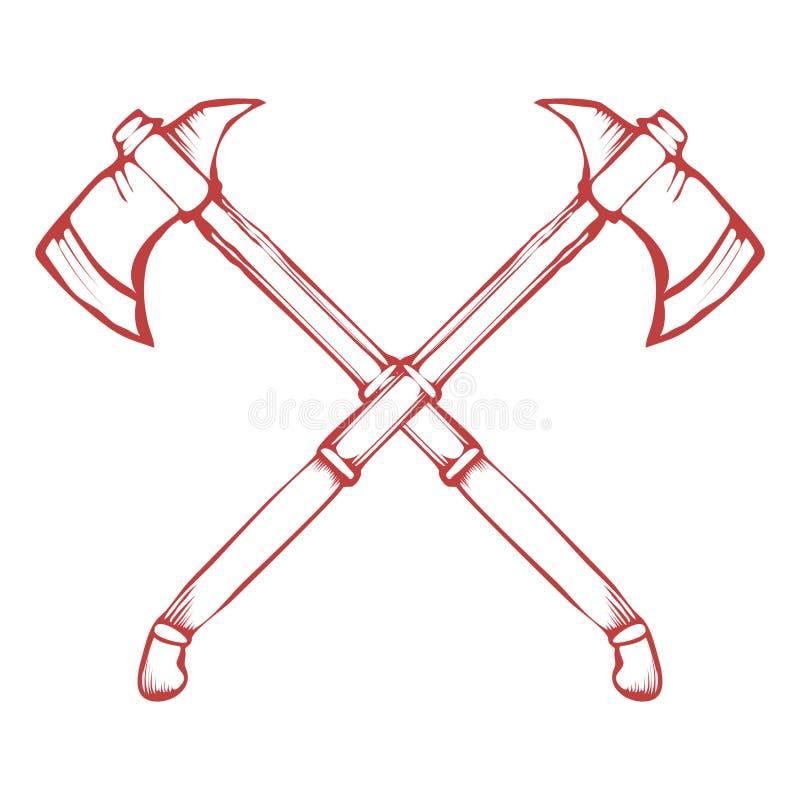 Dé las hachas cruzadas exhaustas de la batalla aisladas en el vector blanco del fondo ilustración del vector