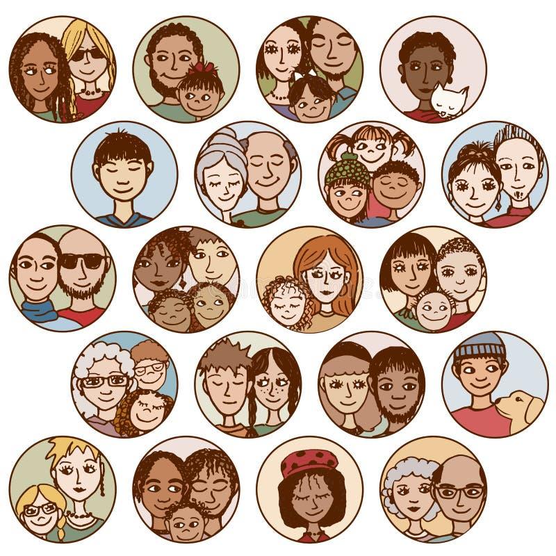 Dé las imágenes exhaustas de las familias, pares, amigos, hermanos, escoge stock de ilustración