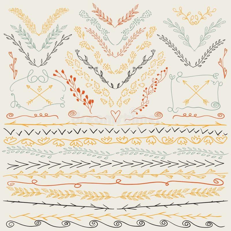 Dé las líneas exhaustas frontera, rama, flechas y otra los elementos del diseño Colores retros libre illustration