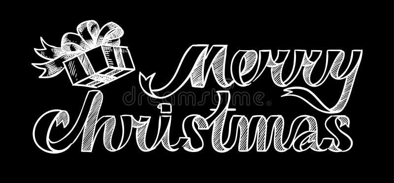 Dé las letras de una Feliz Navidad y de un dibujo una caja de regalo libre illustration