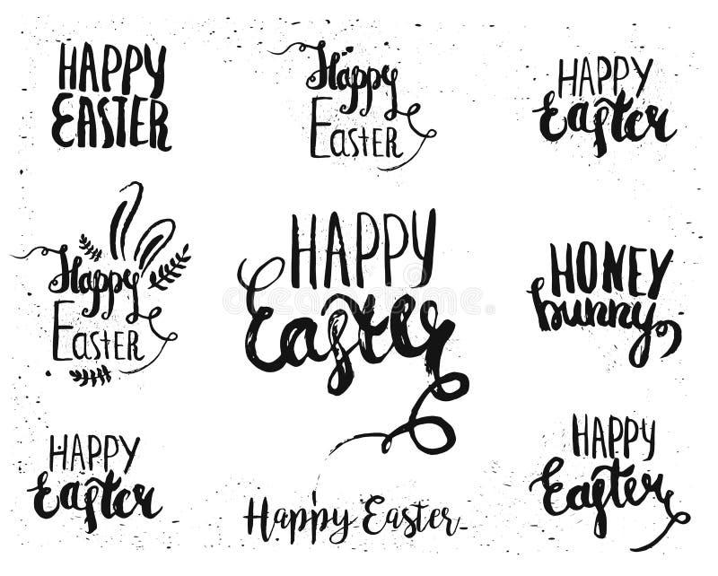 Dé las letras escritas de Pascua para las plantillas del texto de la tarjeta de felicitación con los huevos de Pascua aislados en libre illustration