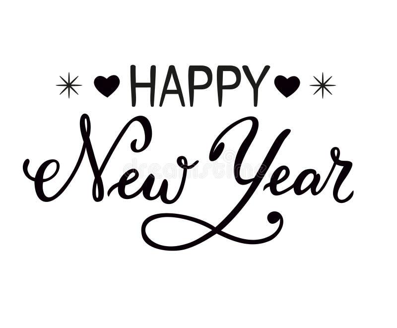 Dé las letras exhaustas de la Feliz Año Nuevo aisladas en un fondo blanco stock de ilustración