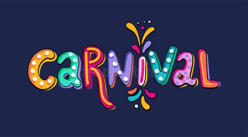 Dé las letras exhaustas del carnaval del vector con los flashes del fuego artificial, confeti colorido Título festivo, bandera de libre illustration