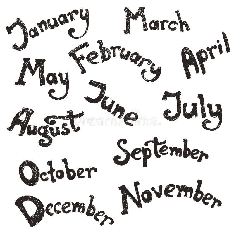 Dé las letras exhaustas del vector - meses del año ilustración del vector