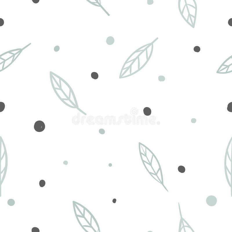 Dé las letras exhaustas en los colores azulverdes y negros para los niños, diseño de los niños con las hojas ilustración del vector
