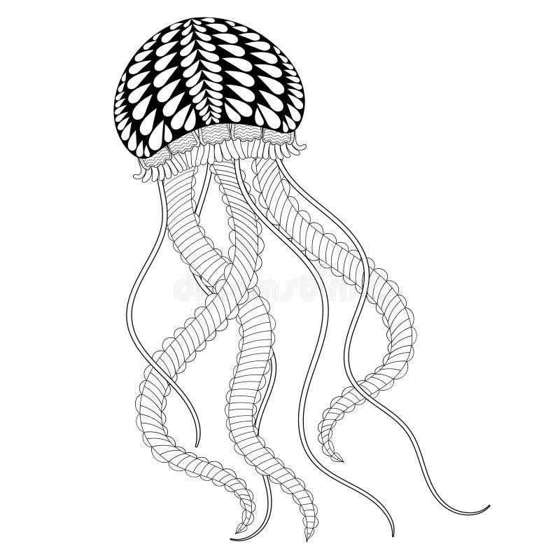 Dé Las Medusas Exhaustas Del Mar Para Las Páginas Adultas Del ...