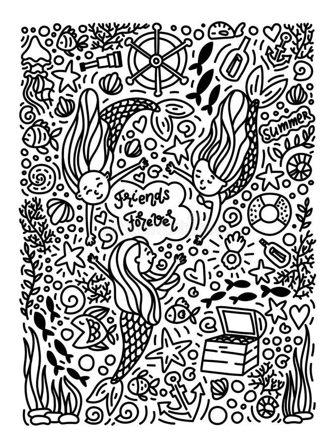 Dé las pequeñas sirenas lindas exhaustas en estilo del garabato libre illustration