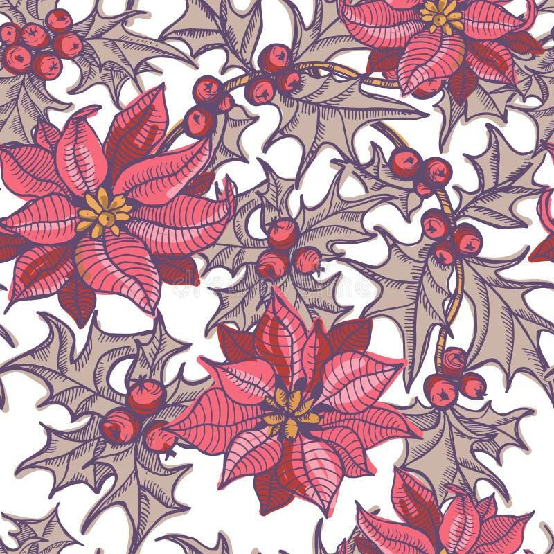 Dé las ramitas del acebo y las flores exhaustas de la poinsetia modelo inconsútil ilustración del vector