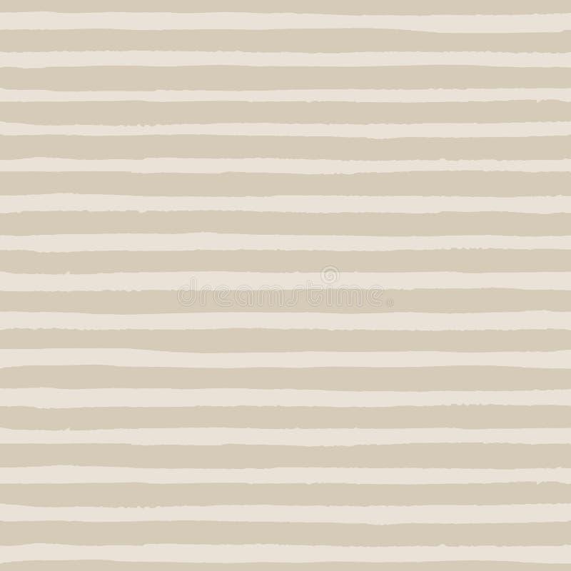 Dé las rayas exhaustas del grunge del vector del modelo inconsútil del color marrón pálido en el fondo beige ilustración del vector