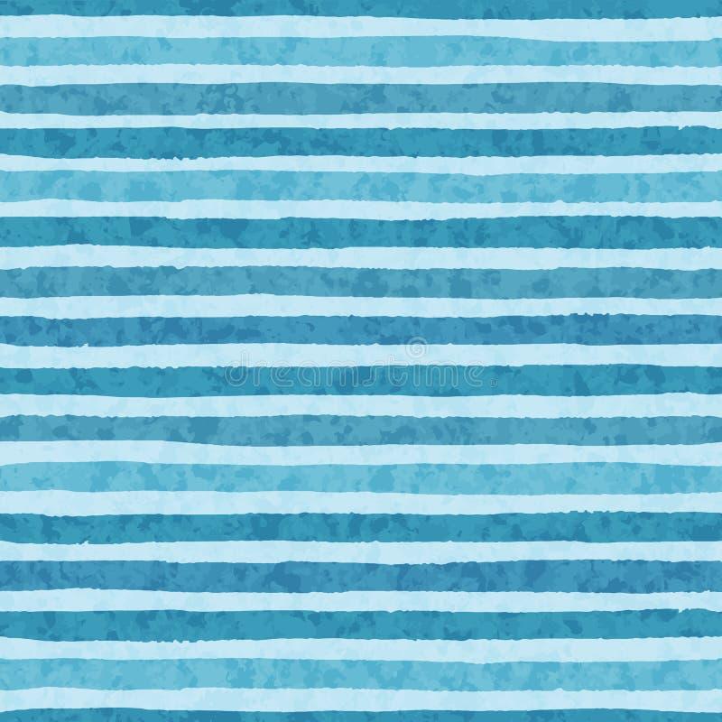 Dé las rayas exhaustas del grunge del vector del modelo inconsútil de los colores fríos del azul en el fondo ligero stock de ilustración