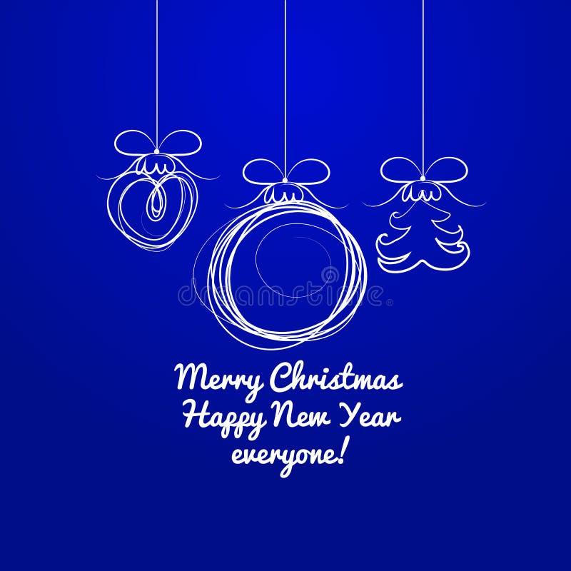 Dé las siluetas exhaustas de las bolas de la Navidad en un fondo azul Muestra del cartel, de invitación del partido y de otras ta stock de ilustración