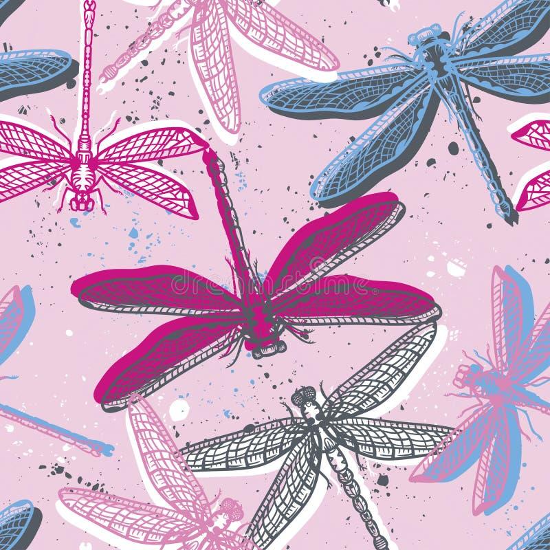 Dé a libélulas estilizadas dibujadas el modelo inconsútil para las muchachas, muchachos, ropa Fondo creativo con el insecto Papel stock de ilustración