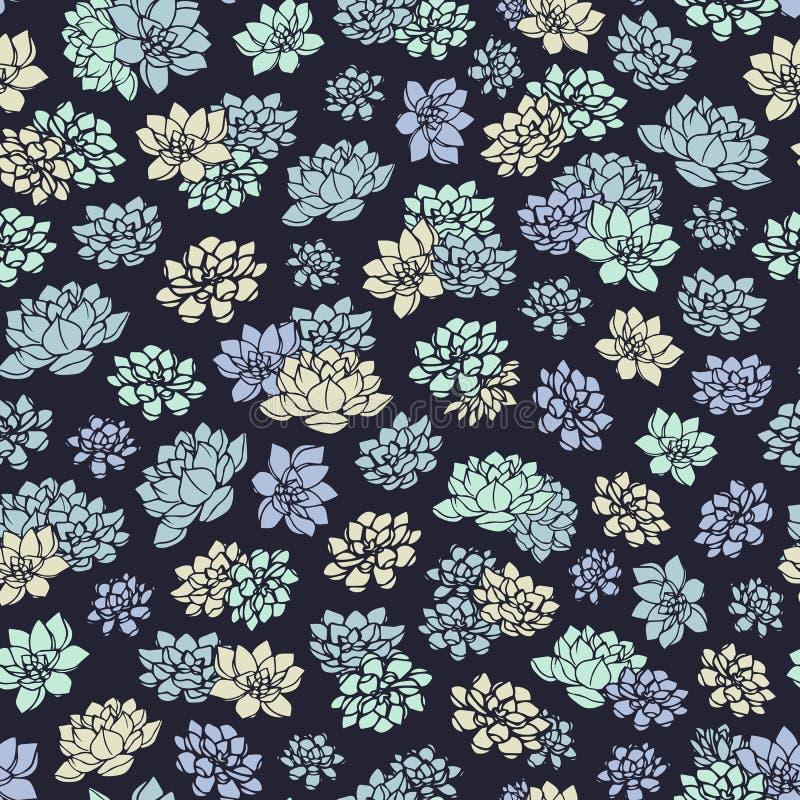 Dé a lirios exhaustos del vector el modelo inconsútil en fondo oscuro Diseño floral del vintage stock de ilustración