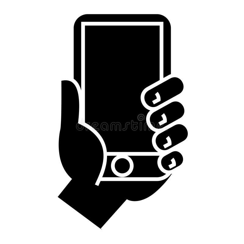 Dé llevar a cabo el icono del teléfono, ejemplo del vector, muestra negra en fondo aislado libre illustration