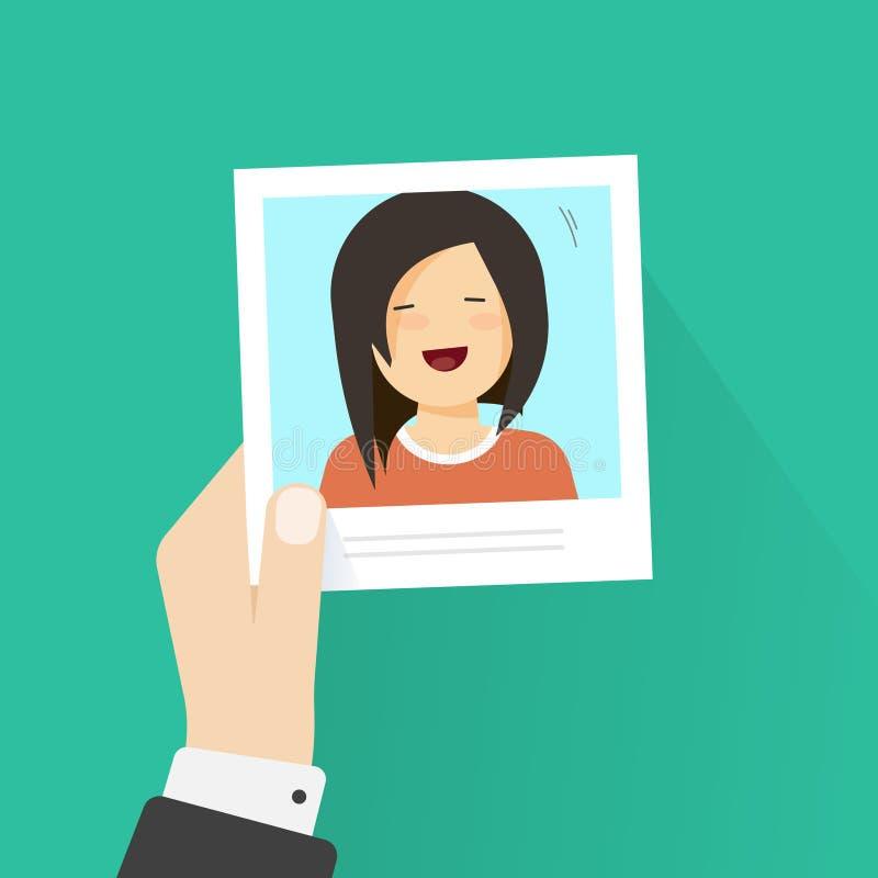 Dé llevar a cabo el marco de papel de la foto con el estilo plano de la historieta de la muchacha de la imagen del ejemplo feliz  libre illustration