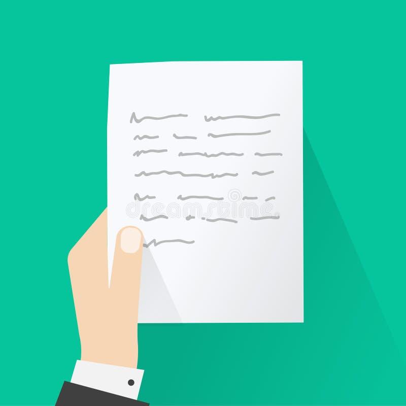 Dé llevar a cabo la letra, concepto de mensaje de papel, página de la lectura de la persona ilustración del vector