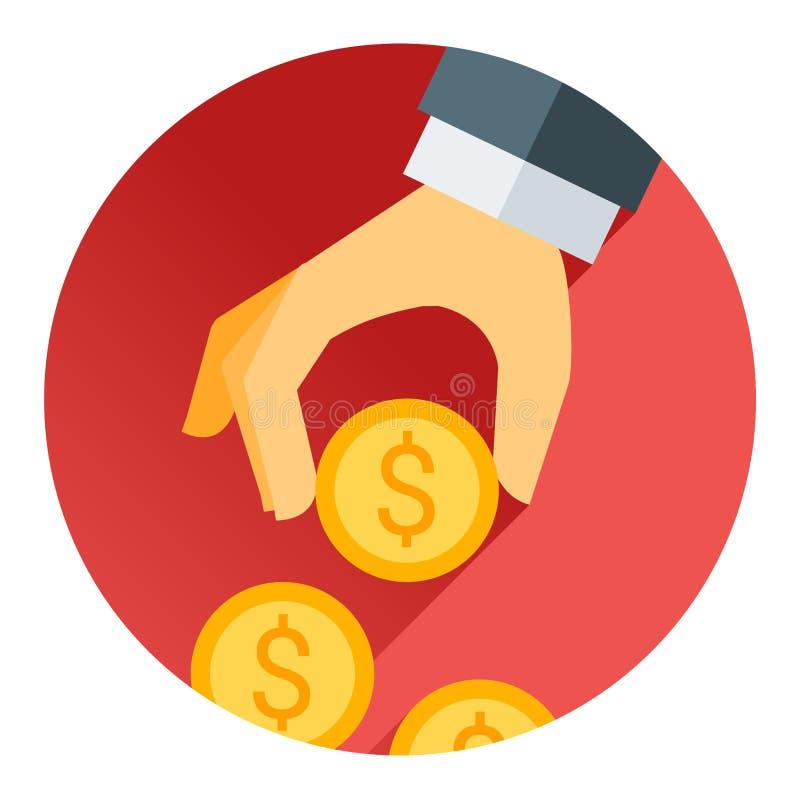 Dé llevar a cabo la moneda del dinero, la sombra roja y el tema plano ilustración del vector
