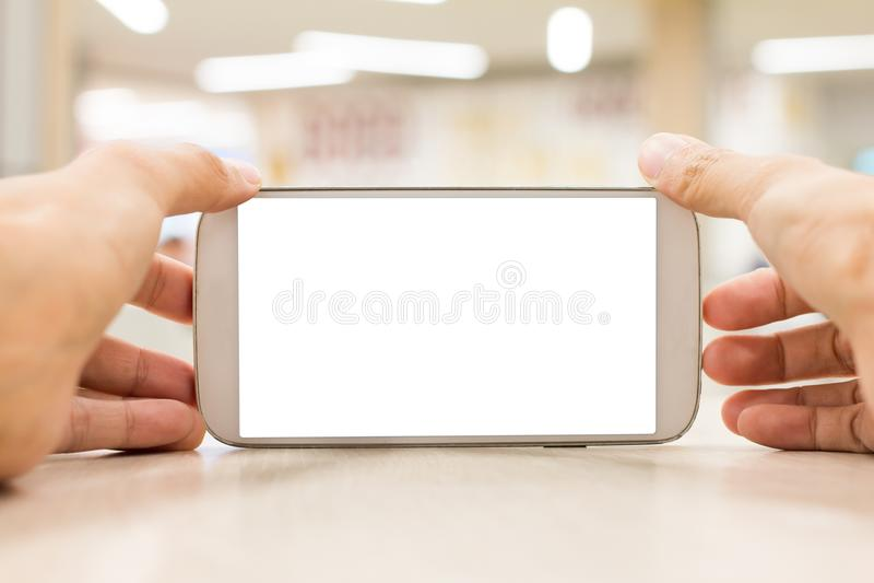 Dé llevar a cabo y el tacto del espacio de la copia del teléfono móvil para su fondo del texto fotos de archivo