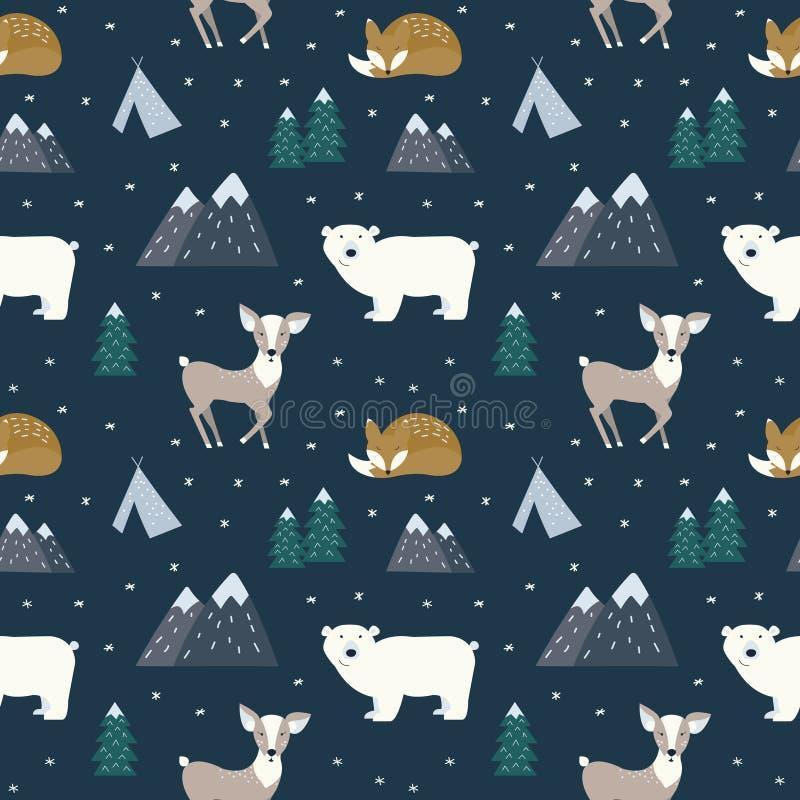 Dé los animales escandinavos exhaustos en el bosque, modelo inconsútil ilustración del vector