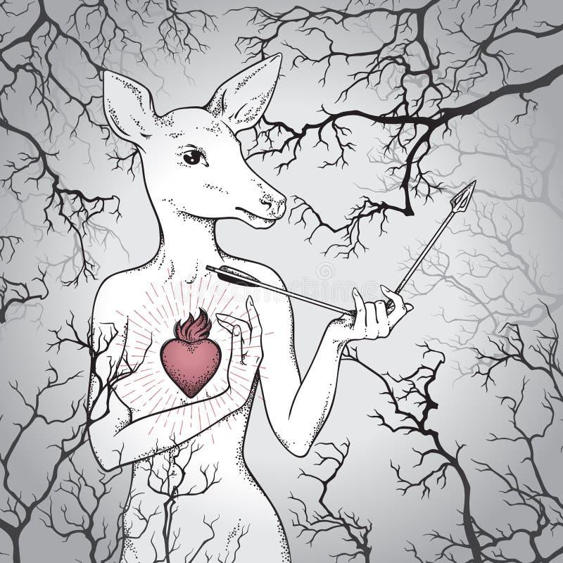 Dé los ciervos exhaustos con el cuerpo humano y el corazón ardiente que sostienen la flecha rota en la línea brumosa arte del bos stock de ilustración