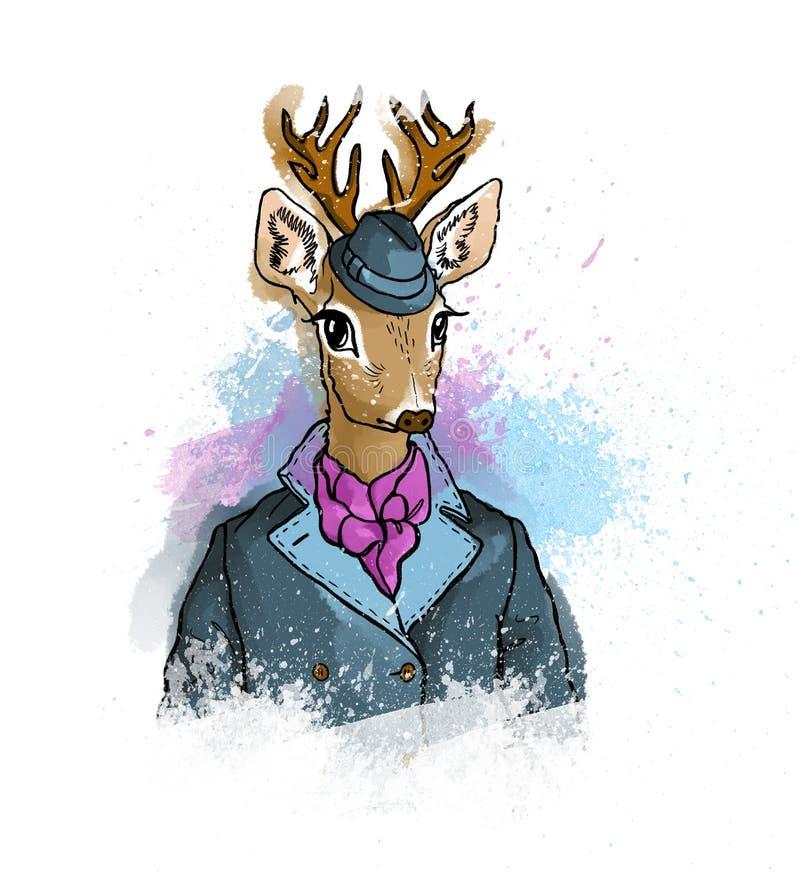 Dé los ciervos lindos coloridos exhaustos del inconformista en señor elegante del vintage de а stock de ilustración