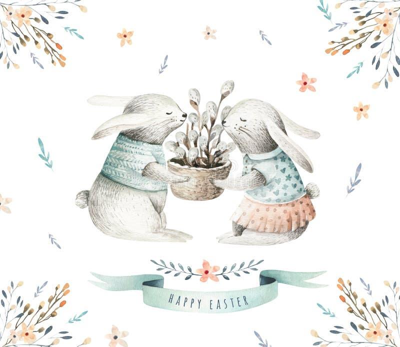 Dé los conejitos de dibujo de la historieta de la acuarela de pascua con las hojas, salvado stock de ilustración