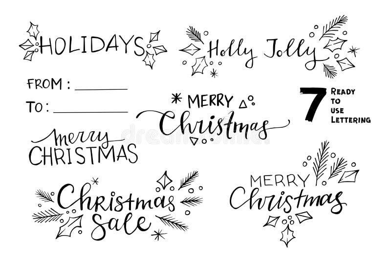 Dé los ejemplos bosquejados del vector - 7 la Navidad lista para utilizar stock de ilustración