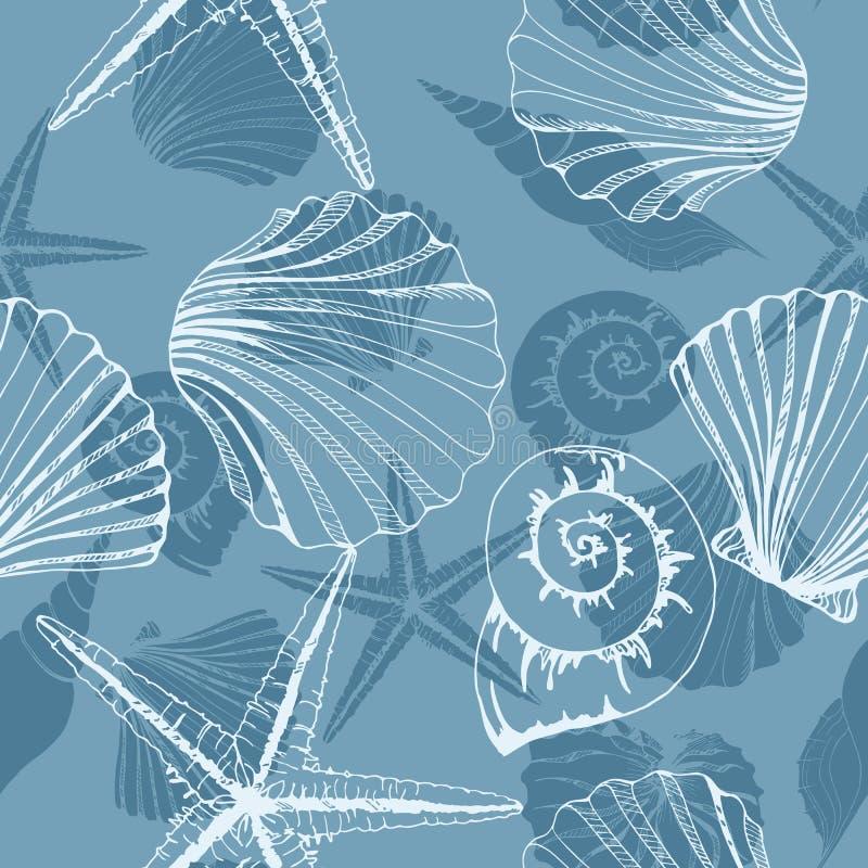 Dé los ejemplos exhaustos - modelo inconsútil de conchas marinas Fondo marina Modelo del vector libre illustration