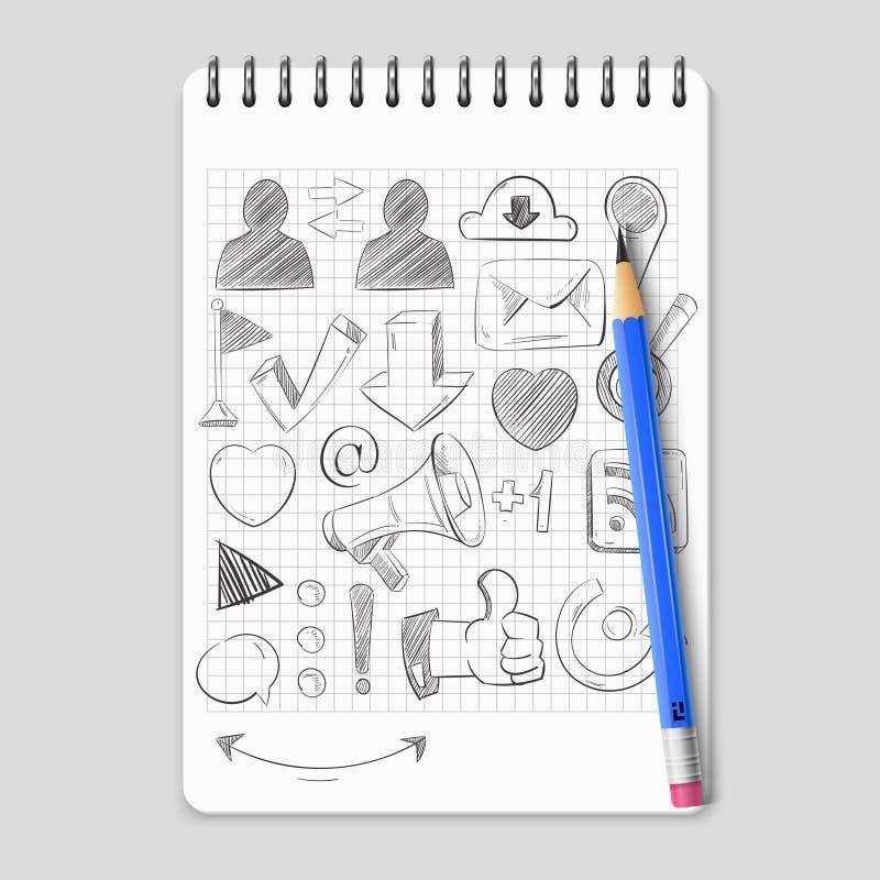 Dé los medios iconos sociales exhaustos de la red en el cuaderno realista stock de ilustración