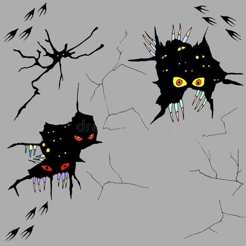 Dé los monstruos exhaustos que miran furtivamente fuera de las grietas en la pared, vector hal libre illustration
