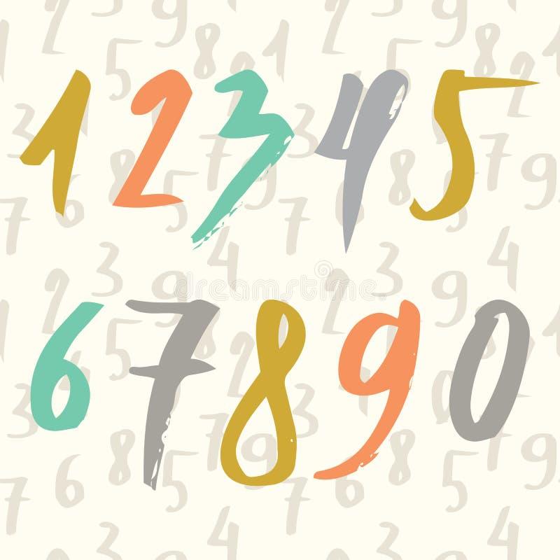 Dé los números exhaustos hechos por el cepillo y el modelo inconsútil con números Moderno cepillado Educación Ilustración del vec stock de ilustración