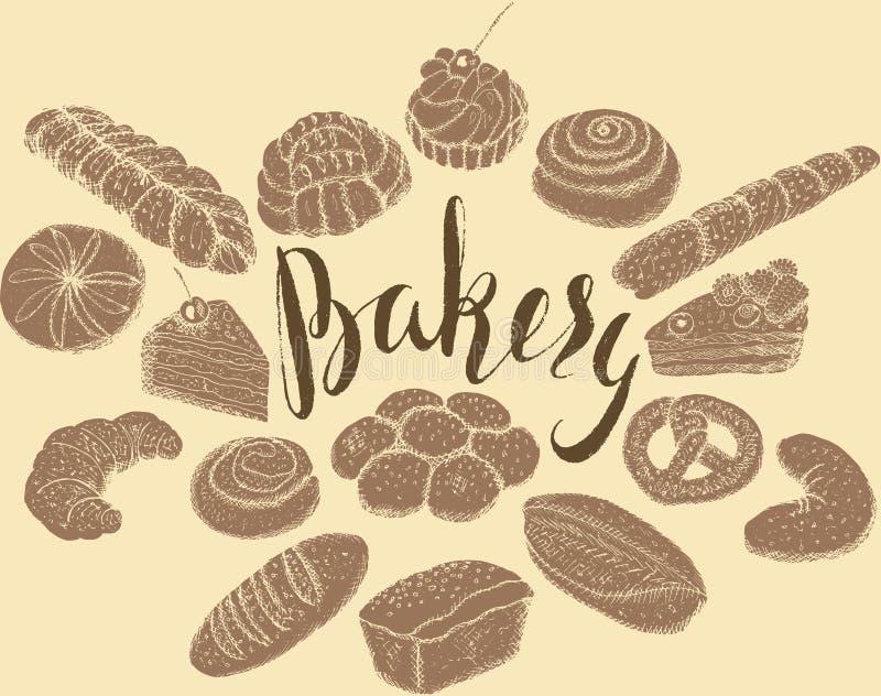 Dé los productos exhaustos de la panadería con el terraplén marrón, poniendo letras a la panadería en fondo amarillo stock de ilustración