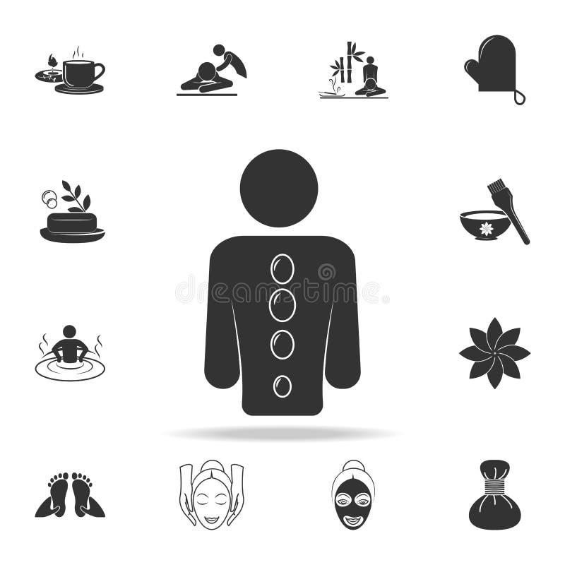 Dé masajes con el icono volcánico de las piedras Sistema detallado de iconos del BALNEARIO Diseño gráfico de la calidad superior  libre illustration