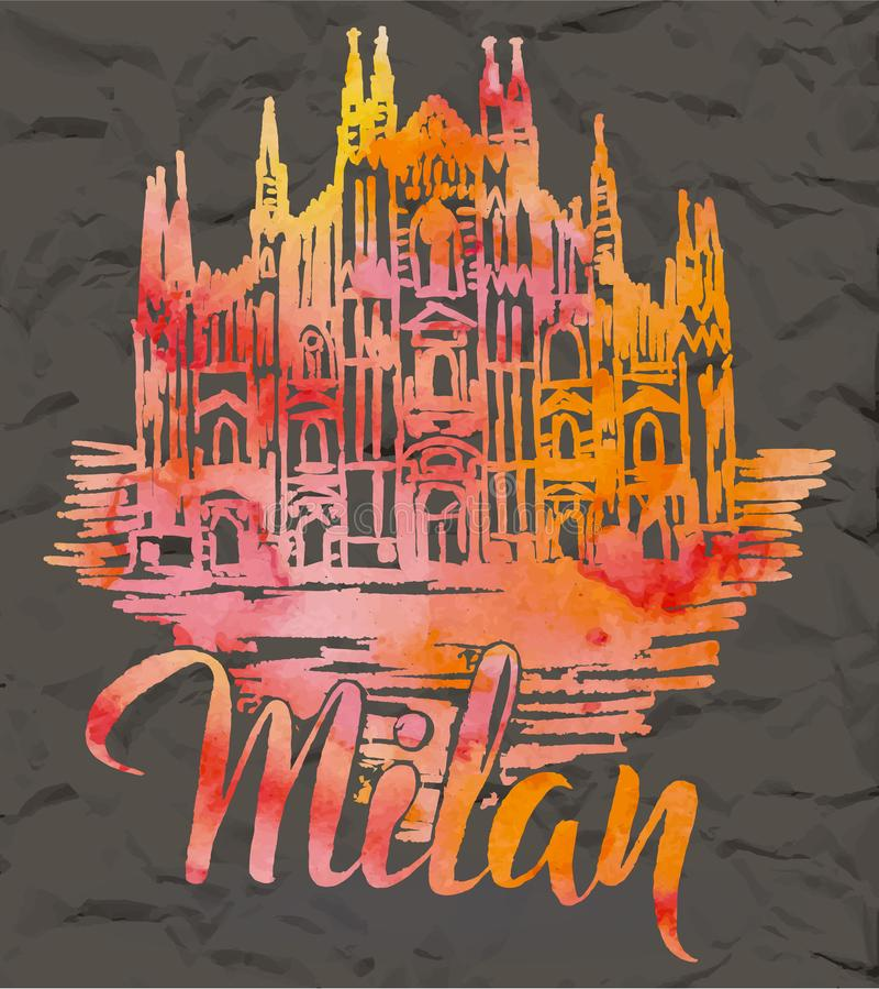 Dé Milan Cathedral exhausto, poniendo letras a Milán con el terraplén de la acuarela libre illustration