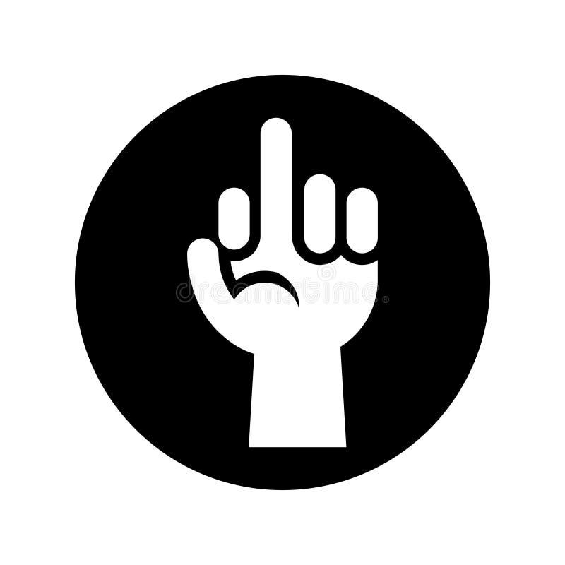 Dé mostrar el icono del gesto del dedo medio en negro sobre blanco ilustración del vector