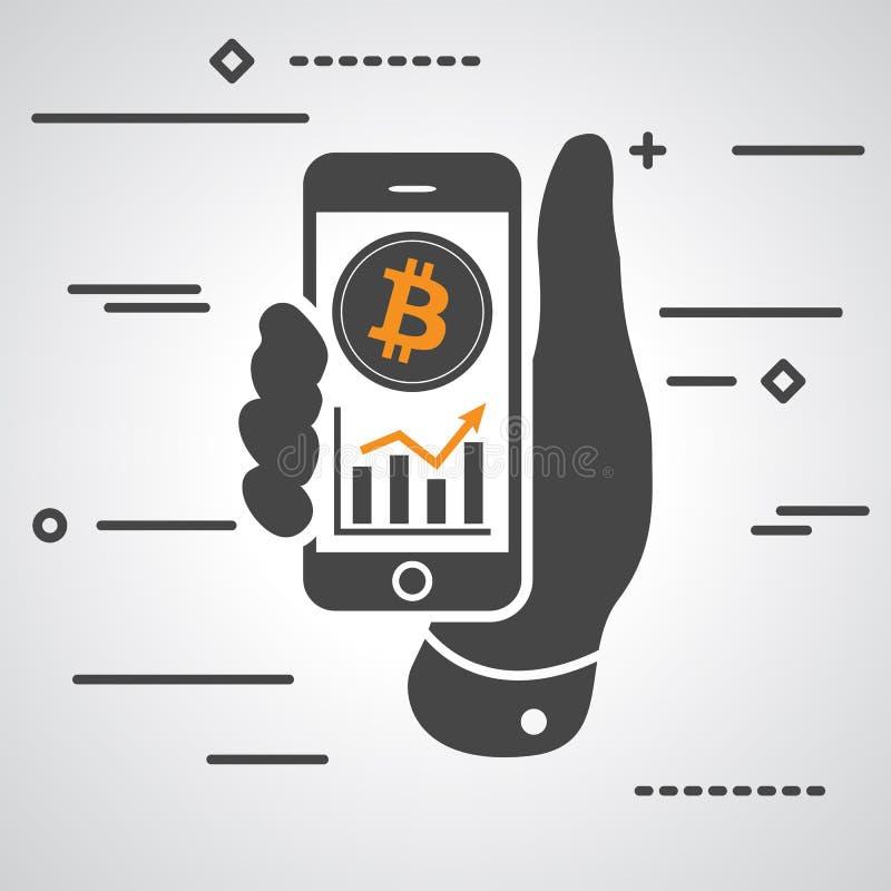 Dé mostrar el teléfono con el gráfico del bitcoin que sube stock de ilustración