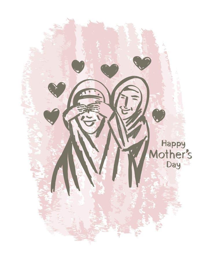 Dé a mujeres musulmanes de la madre del día feliz exhausto del ` s el arte imagenes de archivo