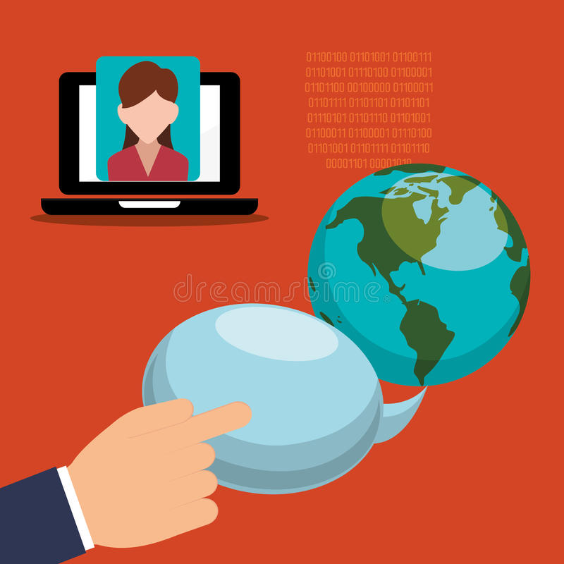 dé a mundo del discurso de la burbuja la comunicación binaria de la muchacha del ordenador portátil stock de ilustración