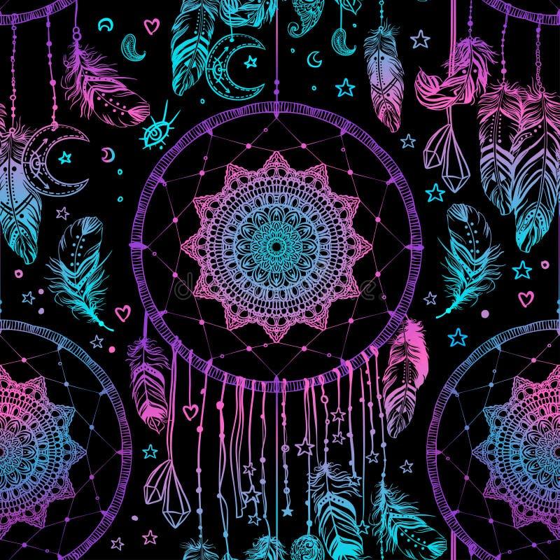 Dé a nativo americano exhausto el dreamcatcher indio del talismán con fea stock de ilustración