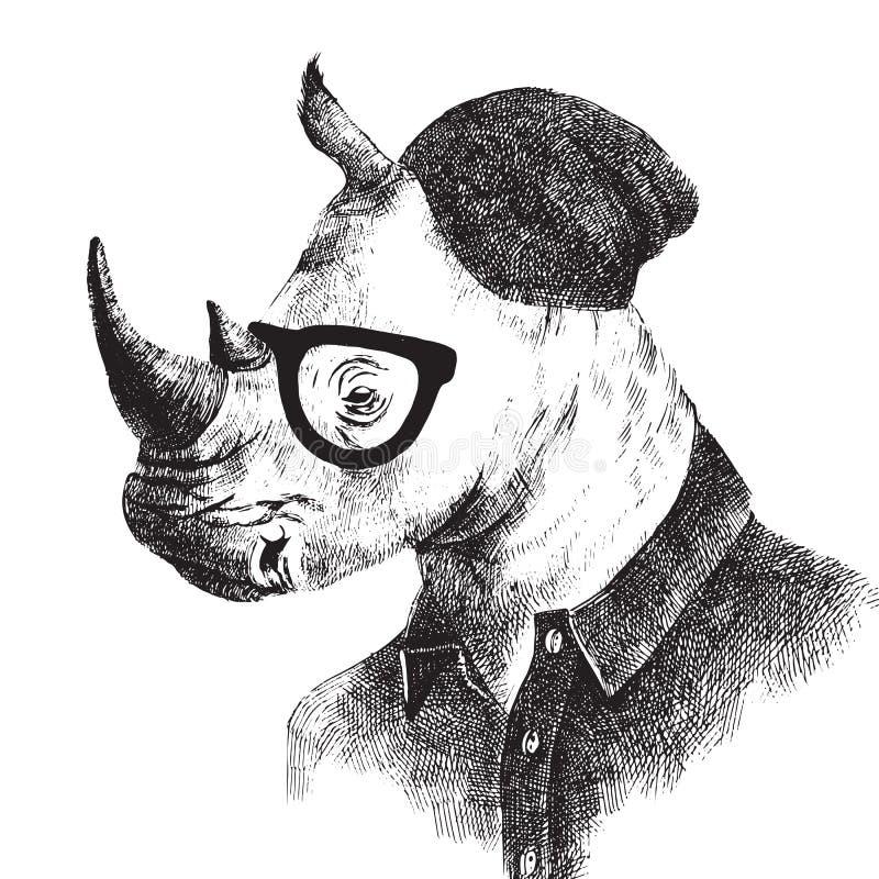 Dé para arriba vestido el rinoceronte exhausto en estilo del inconformista stock de ilustración