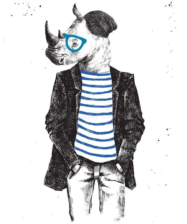 Dé para arriba vestido el rinoceronte exhausto en estilo del inconformista ilustración del vector