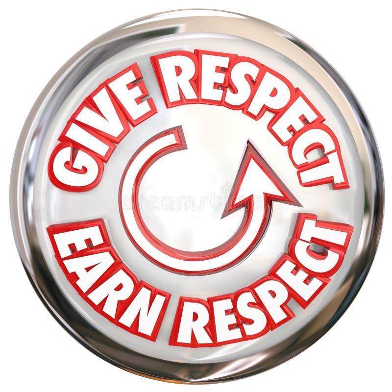 Dé para ganar a palabras del respecto el botón blanco cómo ganar la reverencia Hon libre illustration