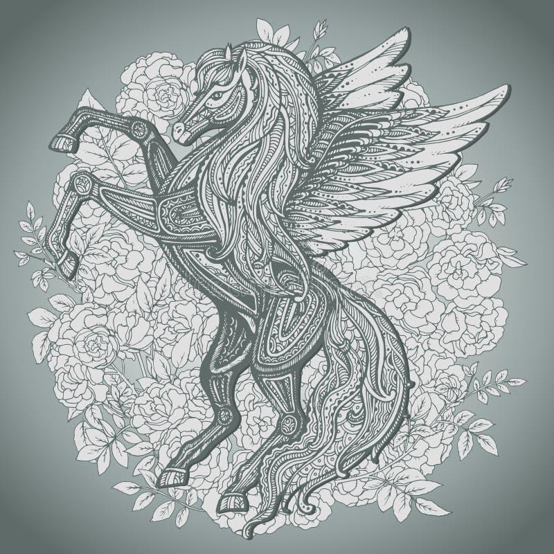 Dé a Pegaso exhausto el caballo con alas mitológico en backg de las rosas del arbusto ilustración del vector
